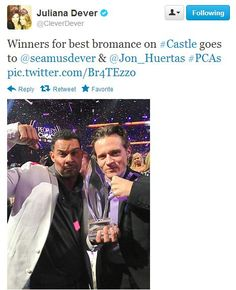 "Best Bromance at the 2013 PCA's--Jon Huertas/Seamus Dever, aka Esposito/Ryan on ""Castle"""