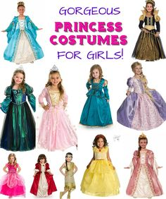 Is there a little Princess in your life? Bring a huge smile to her face with one of these beautiful non-Disney-themed Princess Dress Up Outfits! Princess Costumes For Girls, Kids Dress Up Costumes, Little Girl Princess Dresses, Disney Princess Dress Up, Little Girl Dress Up, Gowns For Girls, Girls Dress Up, Dress Up Outfits, Princess Gowns
