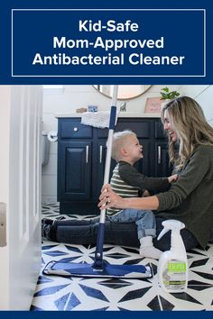 """How many magical years do I have left where the kids think helping Mom clean is COOL?! 🤔 My kids love to help mop the floors. I feel good knowing they are getting the floors clean with Bona and their new Antibacterial Formula. It kills 99.9% of household germs using hydrogen peroxide when used as directed. It's safe around my kids while getting the floors super clean from all the dirt and germs they track into the house."" - Amanda, Project Whim"