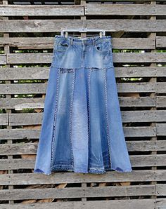 Distressed Long Jean Skirt Made to Order by DenimDiva2day on Etsy