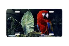 """Airstrike® 8227-""""Scarlet Macaw""""-Parrot License Plate"""