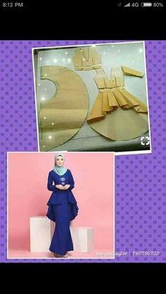 Sewing Paterns, Dress Sewing Patterns, Muslim Dress, Hijab Dress, Abaya Fashion, Fashion Outfits, Womens Fashion, Kebaya Peplum, Fashion Sewing
