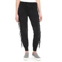 Amuse Society Fringe Jogger Pants ($50) ❤ liked on Polyvore featuring black