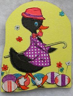 Black Duck, Easter Eggs Vtg Greeting Card Glittered Wood Christmas Ornament