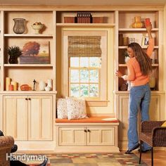 Smart! Design plan uses upper kitchen cabinets because they are narrow and are just right as bases for bookcases. Stylish Shelves: The Family Handyman
