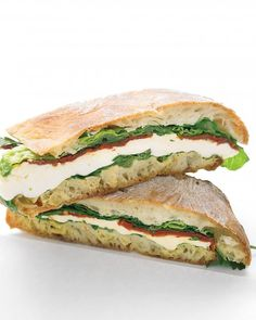 Pressed Mozzarella and Tomato Sandwich -- No panini press needed: For the easiest Italian lunch, crusty bread, good cheese, and a couple of cans will do just fine.