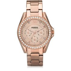 Fossil Designer Women's Watches Riley Stainless Steel Women's Watch (420 BRL) ❤ liked on Polyvore featuring jewelry, watches, pink, women's watches, pink jewelry, fossil jewellery, bezel jewelry, water resistant watches and fossil jewelry