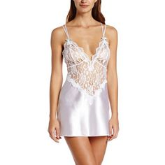 Color: White Chemise: 100% Polyester; Thong: 100% Polyamide Imported Hand Wash adjustable straps Satin Bow detail