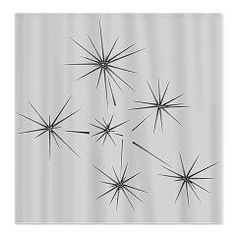 Silver Stars Fabric Shower Curtain