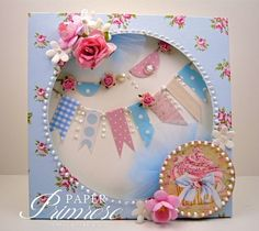 blue, pink & white, cupcake, shadow box card, banners, pearls, flowers