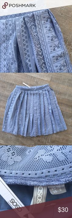 NWT! asos fall weight lace style pleat skirt NWT! asos fall weight pleated skirt with lace styled shell. Size 6. Please ask any questions! Offers welcome! Asos Skirts Midi