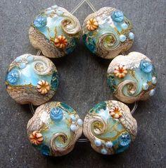 Lampwork beads 1471 Lentils (6) Ocean Waves, Sea, Water. $30.00, via Etsy.