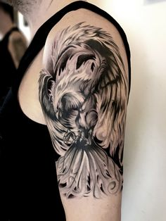 Black and grey realistic phoenix tattoo from Blanka - Selfmade Tattoo Berlin selfmade-tattoo.de