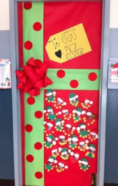 Classroom Door For December Cut Out Construction Paper Circles And Put Glitter On Them The Dotade Bow Of Bulletin Board Print