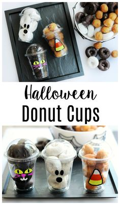 It doesn't get any cuter or easier than these Halloween donut cups! Perfect for Halloween parties, classroom parties, or gifts. Make all 3 varieties! Halloween Donuts, Halloween Cups, Halloween Trick Or Treat, Halloween Design, Halloween Parties, Halloween Crafts, Halloween Ideas, Mickey Halloween, Halloween Foods