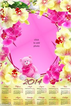 2014 Calendar Pink Teddy and orchids. Click to add your own photo, you can save it or print it from imikimi.com