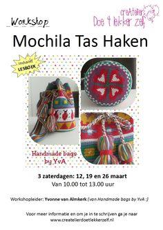 Driedelige workshop MOCHILA TAS HAKEN op zaterdag 12, 19 en 26 maart van 10.00 tot 13.00 uur. Inclusief lesboek en kortingsbon voor de bolletjes Cotton3!!!