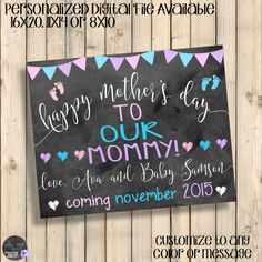 Mother's Day Chalkboard Pregnancy Announcement Sign, Happy Mother's Day Our Mommy, I'm A Big Sister To Be, I'm A Big Brother To Be, Digital by SquishyDesignsbyMe on Etsy