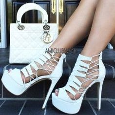 White Strappy Peep Toe Platform High Heels Faux Leather $12.50