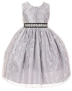 421a098268de5 Amazon.com: iGirlDress Little Girls' Elegant Two Tone Lace Gown with  Crystal & Pearl black size 2: Clothing