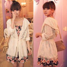 Fashion Women Hooded Chiffon Lace Long Sleeve Shawl Jacket Thin Coat Solid Tunic Drop Free Shipping - ZZKKO http://zzkko.com/n557432 $ 8.64 USD