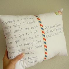 Personalize a Postcard Pillow - Camp counselors love two things - mail, and sleep. Win - Dd's getting one of these very soon.