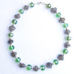 Metallic green lampwork beads, labradorite and silver necklace