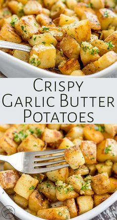 Crispy potatoes drizzled with rich garlic butter! These Brabant Potatoes are a N.Crispy potatoes drizzled with rich garlic butter! These Brabant Potatoes are a New Orleans classic and will quickly become one of your family's favorite sid Potato Sides, Potato Side Dishes, Veggie Dishes, Vegetable Recipes, Food Dishes, Vegetarian Recipes, Cooking Recipes, Healthy Recipes, Steak Side Dishes Easy