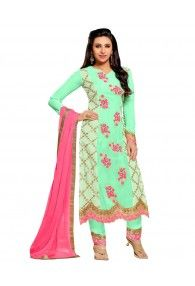Shonaya Cream & Green Colour Georgette Embroidered Semi Stitched Salwar Suit