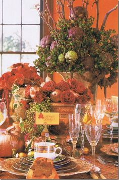 gorgeous table setting and arrangements for Thanksgiving or any time during the fall