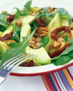 Walnut and avocado salad with warm mustard vinaigerette. Sounds delish!  Sweet Paul