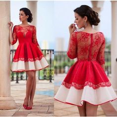 Half Sleeve Red Homecoming dresses,See-through Short Lace Homecoming... ($145) ❤ liked on Polyvore featuring dresses, gowns, prom gowns, red lace dresses, red gown, red homecoming dresses and lace gown