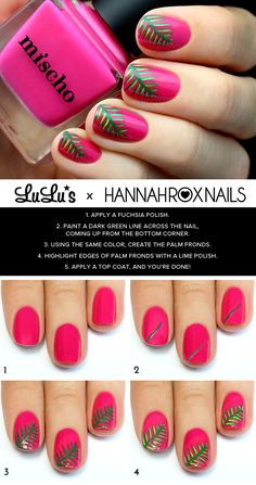 Beauty // Mani Monday: Fuchsia Tropical Nail Tutorial at LuLus.com!