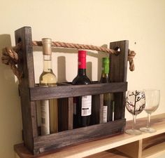 Rustic wooden wine and wine glass carrier, wine tote, wine glass and bottle holder, rustic home decor, wine rack, rustic kitchen, wine lover