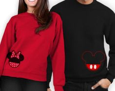 His and Hers matching Mickey and Minnie Sweatshirt - His and Hers Wedding Date Crewnecks - Disney Couples Shirts