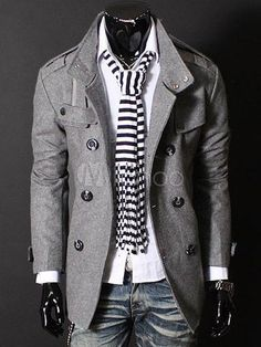38961385629cf Cosy Grey Buttons Cotton Blend Man s Coat - Milanoo.com Men s Fashion