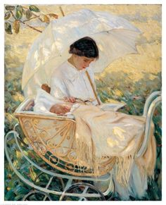 """""""Young mother in the garden"""", by Helen McNicoll, whose art shares some commonalities of expression and subjects with that of impressionist Mary Cassatt."""