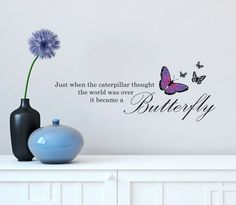 """WALL ~ Alice in Wonderland Butterfly Quote - Vinyl Decal for Walls 