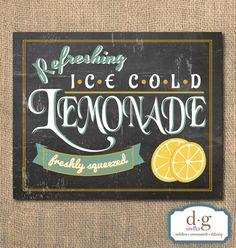Lemonade Chalkboard Sign  Printable Artwork 8x10  by DGInvites