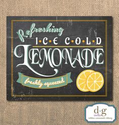 Lemonade Chalkboard Sign  Printable Artwork 8x10  by DGInvites