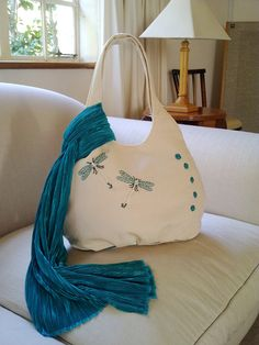 Cream Denim shoulder bag with turquoise embroidered and bead dragonfly with scarf on Etsy, $40.00