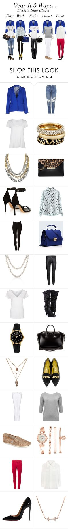 """""""Electric Blue Blazer...Wear It 5 Ways"""" by misschandelier ❤ liked on Polyvore featuring Maison Espin, Topshop, American Vintage, Michael Kors, Dyrberg/Kern, MICHAEL Michael Kors, Isabel Marant, Cheap Monday, Relaxfeel and Bling Jewelry"""