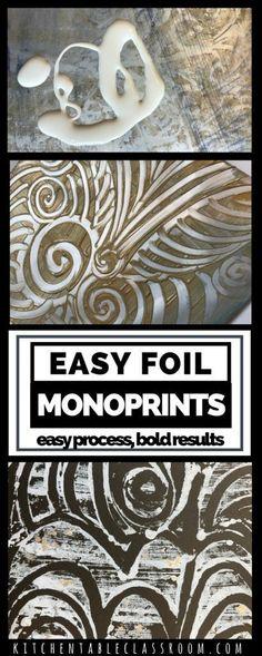 Easy foil monoprints. A great art activity for kids.