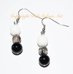Agate 10mm Black White Stone Earrings,Neutral Earrings,Semiprecious Agate Stone Earrings,Stainless Steel Hypoallergenic Non Tarnish Wires