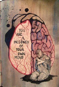 Are your head and heart. Are your head and heart enemies or frene - Sad Drawings, Dark Art Drawings, Drawing Sketches, Dark Art Illustrations, Drawing Drawing, Art Triste, Meaningful Drawings, Meaningful Life, Meaningful Paintings