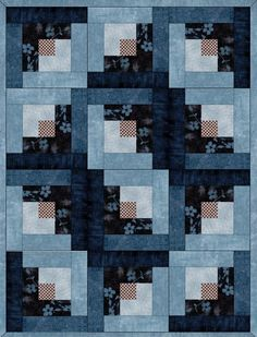 This easy to sew quilt kit has blue leafy branches on brown, navy blender, blue blenders, vine leaves on light blue and a brown and cream check. With the log cabin quilt pattern there are several layo