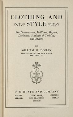 Clothing and Style, William H. Dooley, 1930; University of Wisconsin Digital Collections