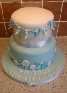 Christening Cake Buttons amd Bunting