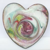 Heart shape brooch - scrolled amethyst, red ,green and yellow on white £10.00+P&p #CRAFTfest