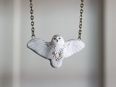 Snowy owl in flight necklace- Last batch until next winter!